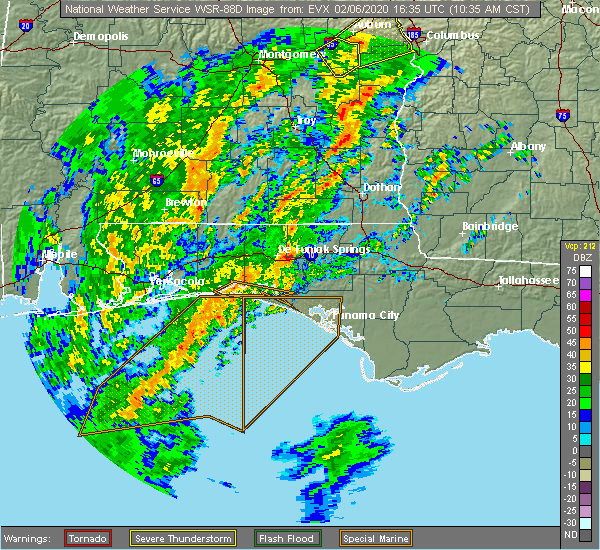 Radar Image for Severe Thunderstorms near Slocomb, AL at 2/6/2020 10:43 AM CST