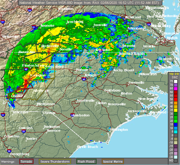 Radar Image for Severe Thunderstorms near Badin, NC at 2/6/2020 11:58 AM EST