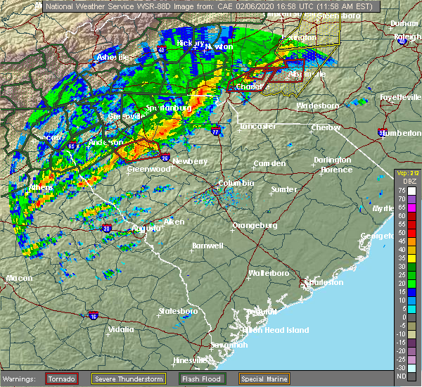 Radar Image for Severe Thunderstorms near JAARS, NC at 2/6/2020 12:05 PM EST