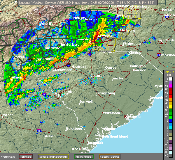 Radar Image for Severe Thunderstorms near Pineville, NC at 2/6/2020 12:23 PM EST