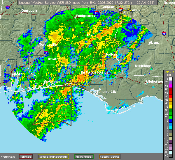 Radar Image for Severe Thunderstorms near Ponce de Leon, FL at 2/6/2020 11:26 AM CST