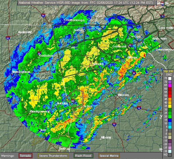 Radar Image for Severe Thunderstorms near Concord, GA at 2/6/2020 12:30 PM EST