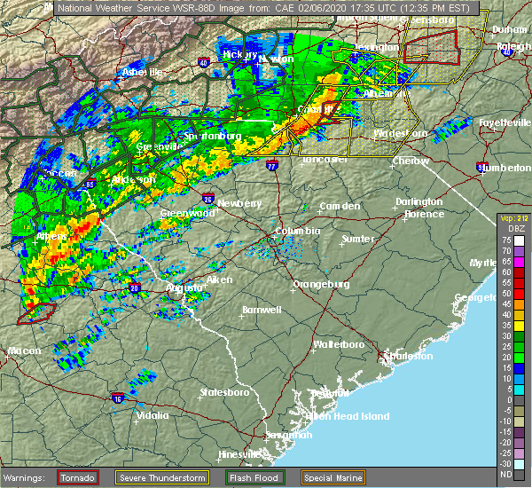 Radar Image for Severe Thunderstorms near Mount Pleasant, NC at 2/6/2020 12:37 PM EST