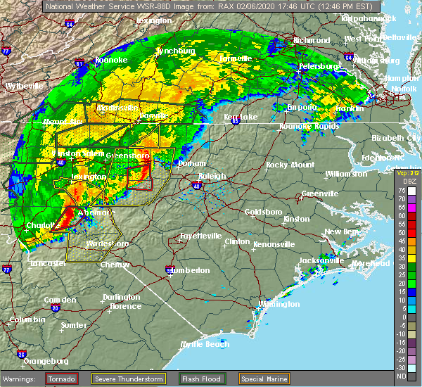Radar Image for Severe Thunderstorms near Saxapahaw, NC at 2/6/2020 12:49 PM EST
