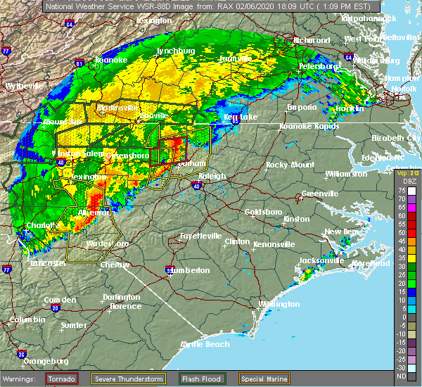 Radar Image for Severe Thunderstorms near Durham, NC at 2/6/2020 1:14 PM EST