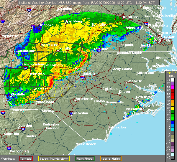 Radar Image for Severe Thunderstorms near Warrenton, NC at 2/6/2020 1:31 PM EST