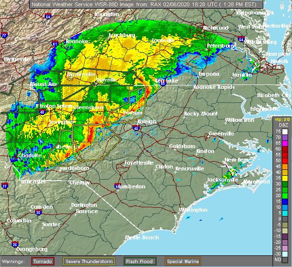 Radar Image for Severe Thunderstorms near Pinehurst, NC at 2/6/2020 1:34 PM EST