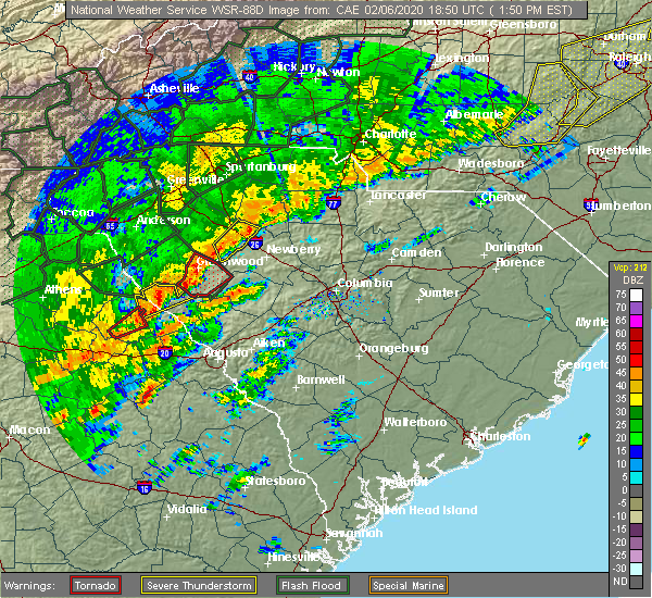 Radar Image for Severe Thunderstorms near Plum Branch, SC at 2/6/2020 1:54 PM EST
