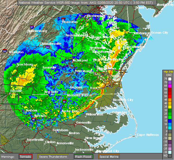 Radar Image for Severe Thunderstorms near Newport News, VA at 2/6/2020 3:55 PM EST