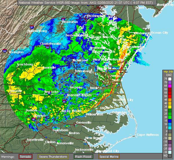 Radar Image for Severe Thunderstorms near Chesapeake, VA at 2/6/2020 4:08 PM EST
