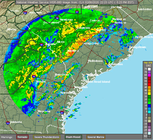 Radar Image for Severe Thunderstorms near Orangeburg, SC at 2/6/2020 5:25 PM EST