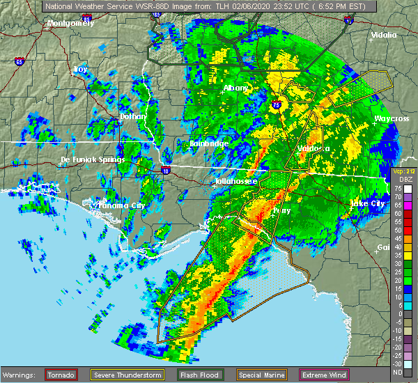 Radar Image for Severe Thunderstorms near Perry, FL at 2/6/2020 6:56 PM EST
