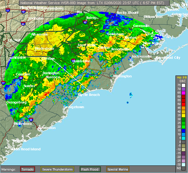 Radar Image for Severe Thunderstorms near Atkinson, NC at 2/6/2020 7:00 PM EST