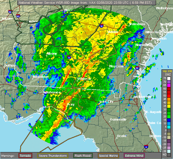 Radar Image for Severe Thunderstorms near Baxley, GA at 2/6/2020 7:05 PM EST