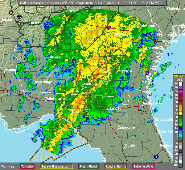 Radar Image for Severe Thunderstorms near Perry, FL at 2/6/2020 7:18 PM EST