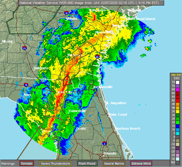Radar Image for Severe Thunderstorms near Nahunta, GA at 2/6/2020 9:22 PM EST