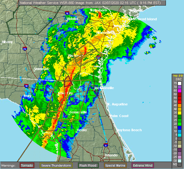 Radar Image for Severe Thunderstorms near Callahan, FL at 2/6/2020 9:25 PM EST