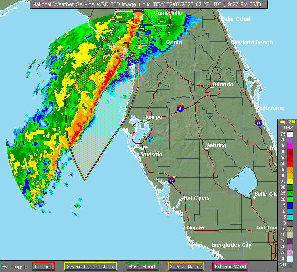 Radar Image for Severe Thunderstorms near Sugarmill Woods, FL at 2/6/2020 9:31 PM EST