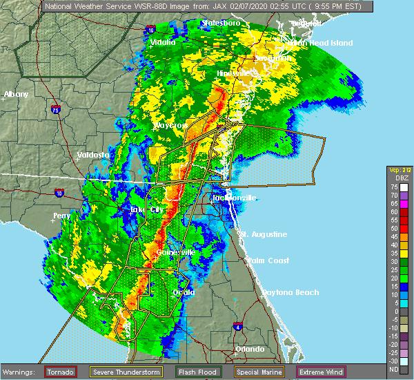 Radar Image for Severe Thunderstorms near Yulee, FL at 2/6/2020 9:57 PM EST