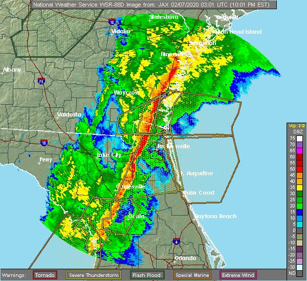 Radar Image for Severe Thunderstorms near Woodbine, GA at 2/6/2020 10:05 PM EST