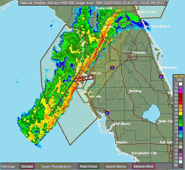 Radar Image for Severe Thunderstorms near St. Petersburg, FL at 2/6/2020 10:54 PM EST