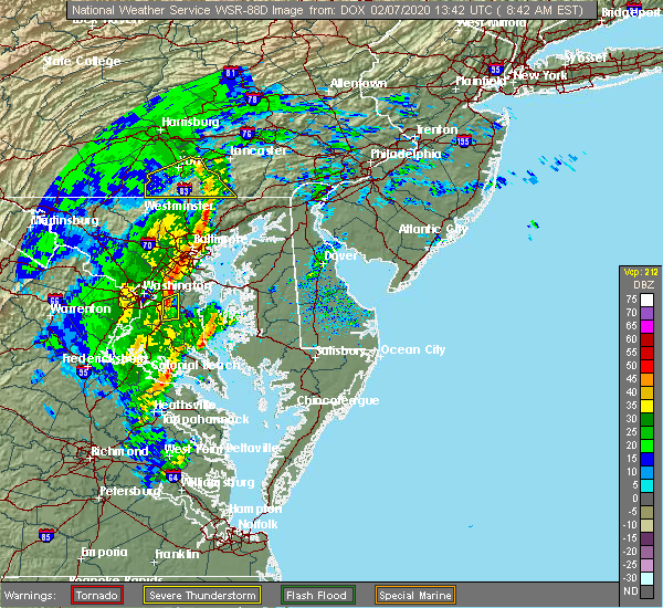 Radar Image for Severe Thunderstorms near Fivepointville, PA at 2/7/2020 8:45 AM EST