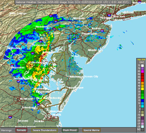 Radar Image for Severe Thunderstorms near Bally, PA at 2/7/2020 8:55 AM EST