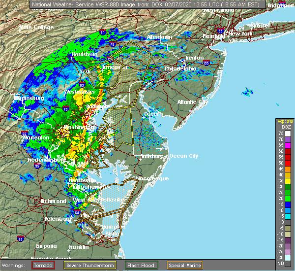 Radar Image for Severe Thunderstorms near Leonardtown, MD at 2/7/2020 8:59 AM EST