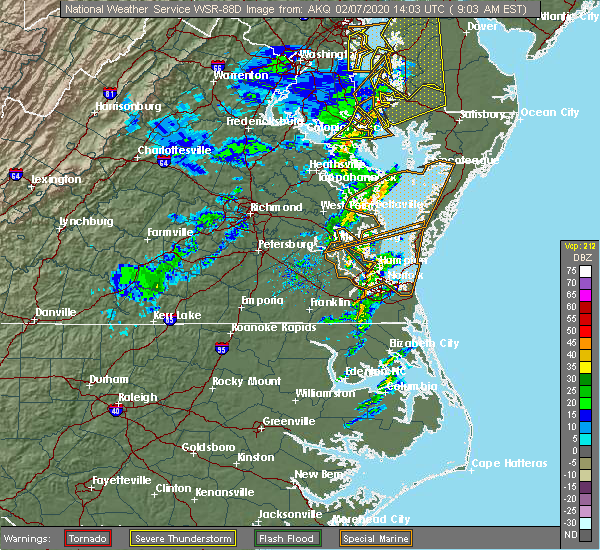 Radar Image for Severe Thunderstorms near Newport News, VA at 2/7/2020 9:10 AM EST