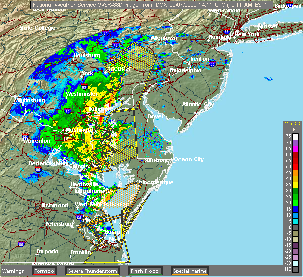 Radar Image for Severe Thunderstorms near Bird-in-Hand, PA at 2/7/2020 9:13 AM EST