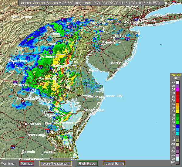 Radar Image for Severe Thunderstorms near Bally, PA at 2/7/2020 9:25 AM EST
