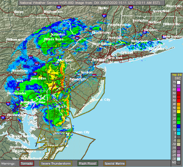 Radar Image for Severe Thunderstorms near Yardley, PA at 2/7/2020 10:17 AM EST