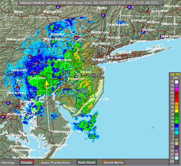 Radar Image for Severe Thunderstorms near Heathcote, NJ at 2/7/2020 10:58 AM EST