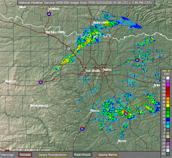 Radar Image for Severe Thunderstorms near Fairfield, TX at 2/9/2020 7:50 PM CST