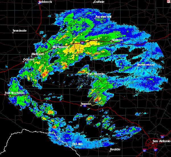 Radar Image for Severe Thunderstorms near Menard, TX at 2/10/2020 9:24 AM CST
