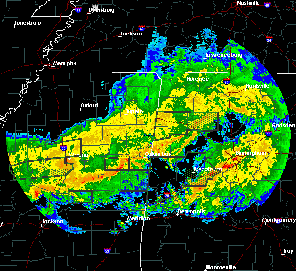 Radar Image for Severe Thunderstorms near Mississippi State, MS at 2/10/2020 12:24 PM CST