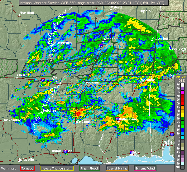 Radar Image for Severe Thunderstorms near New Hebron, MS at 2/10/2020 5:03 PM CST