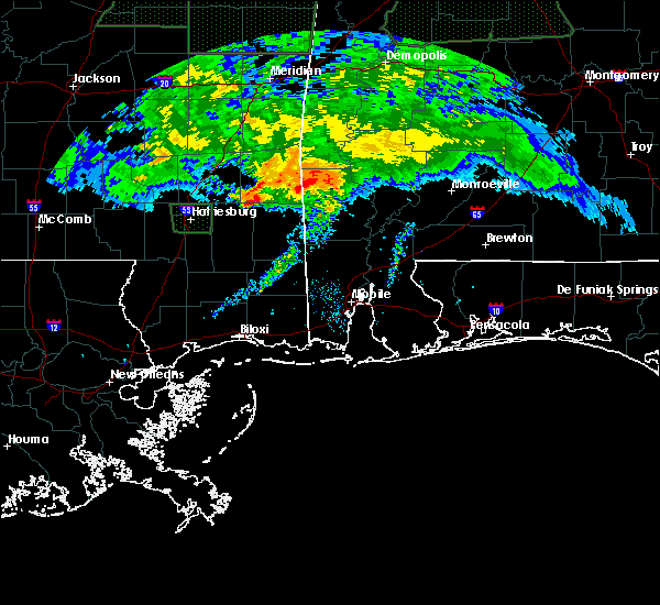 Radar Image for Severe Thunderstorms near Chatom, AL at 2/10/2020 6:50 PM CST