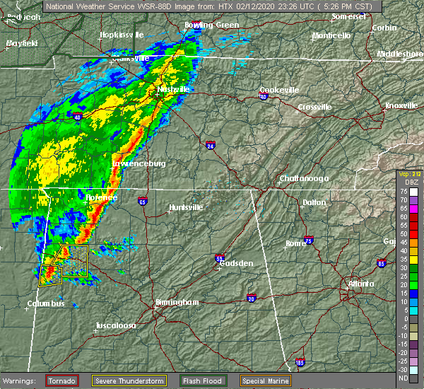 Radar Image for Severe Thunderstorms near Anderson, AL at 2/12/2020 5:32 PM CST