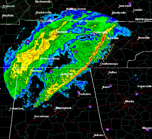 Radar Image for Severe Thunderstorms near Bridgeport, AL at 2/12/2020 7:33 PM CST