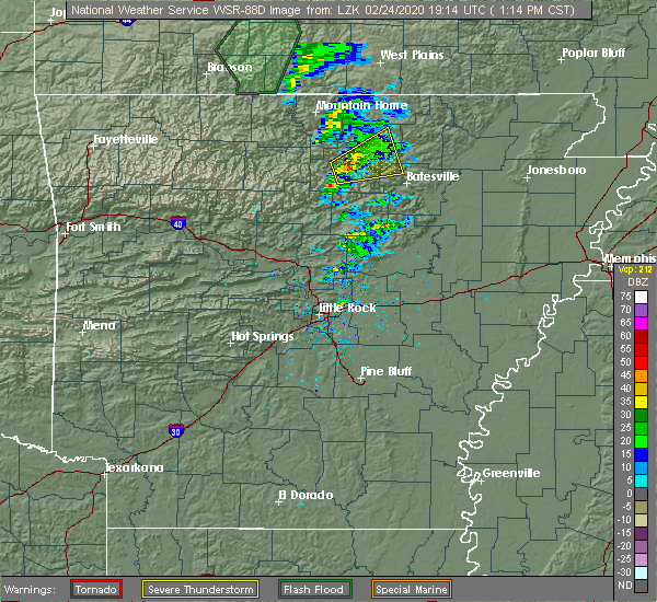 Radar Image for Severe Thunderstorms near Melbourne, AR at 2/24/2020 1:16 PM CST