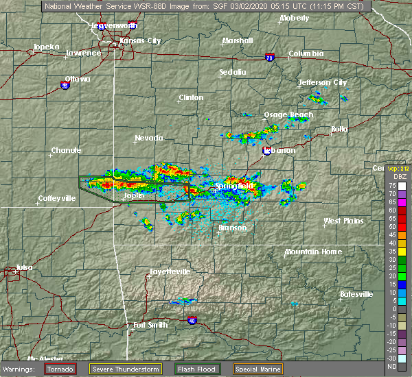 Radar Image for Severe Thunderstorms near Ash Grove, MO at 3/1/2020 11:18 PM CST