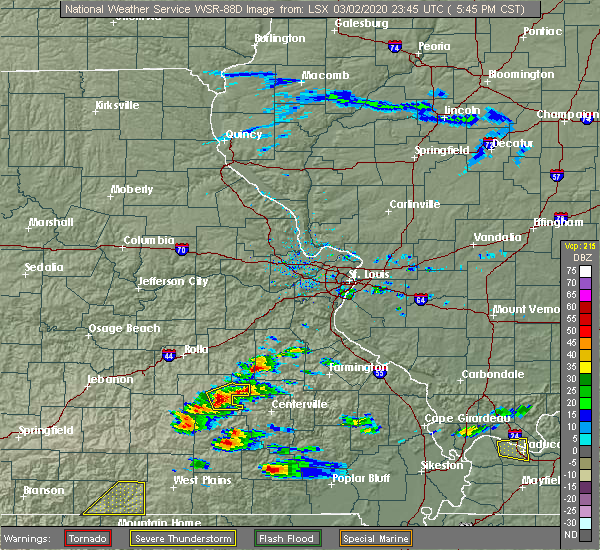Radar Image for Severe Thunderstorms near Salem, MO at 3/2/2020 5:48 PM CST