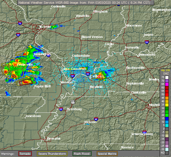 Radar Image for Severe Thunderstorms near Williamsville, MO at 3/2/2020 6:28 PM CST