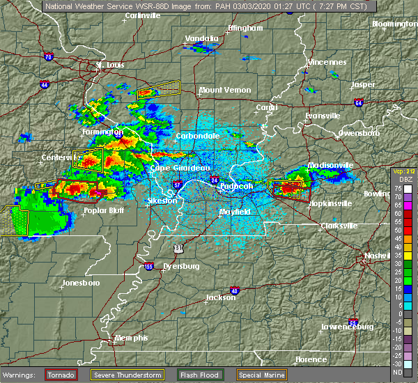 Radar Image for Severe Thunderstorms near Puxico, MO at 3/2/2020 7:31 PM CST
