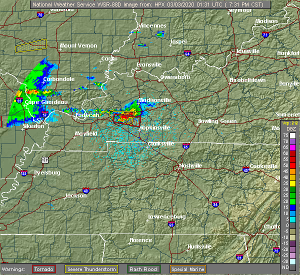 Radar Image for Severe Thunderstorms near Crofton, KY at 3/2/2020 7:36 PM CST