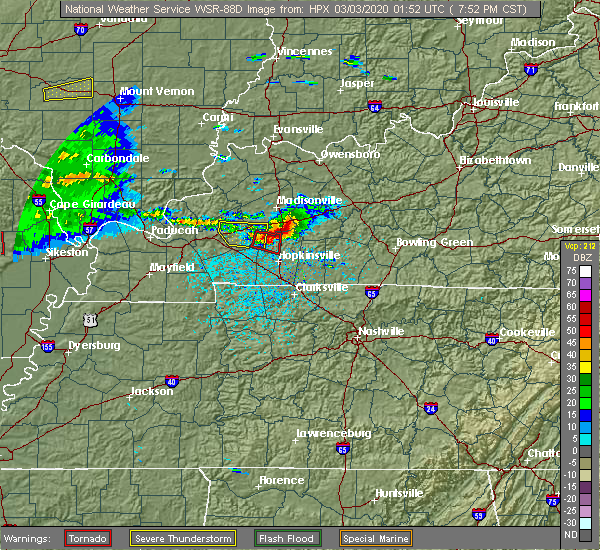 Radar Image for Severe Thunderstorms near Crofton, KY at 3/2/2020 7:58 PM CST
