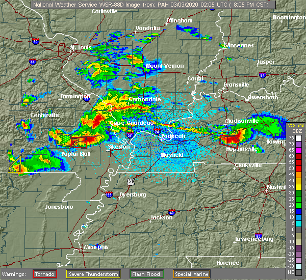 Radar Image for Severe Thunderstorms near Blodgett, MO at 3/2/2020 8:11 PM CST