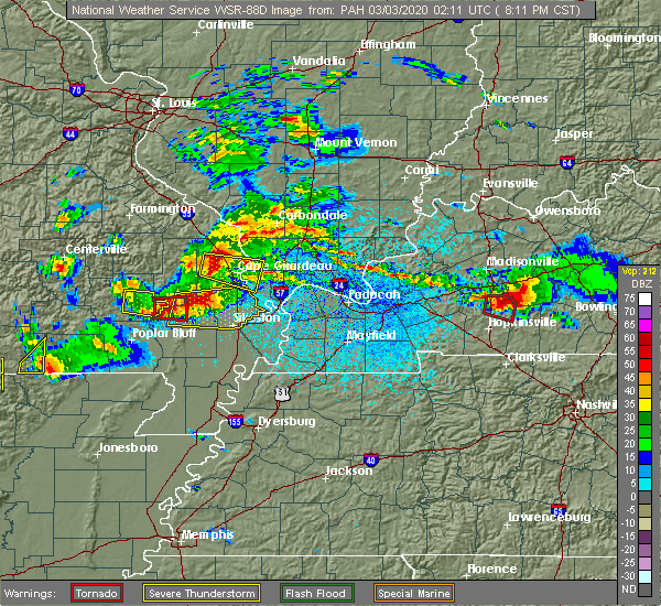Radar Image for Severe Thunderstorms near Bell City, MO at 3/2/2020 8:19 PM CST
