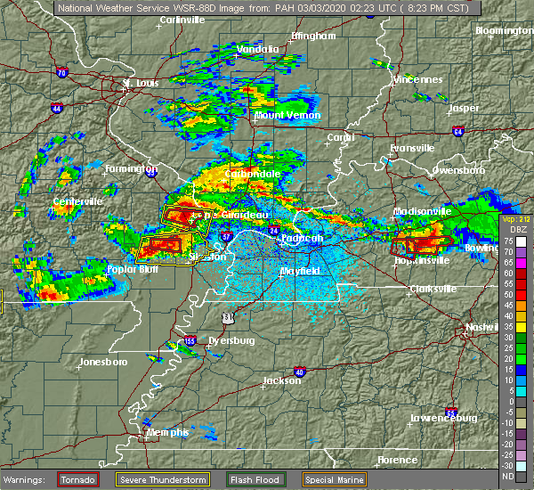 Radar Image for Severe Thunderstorms near Bell City, MO at 3/2/2020 8:26 PM CST